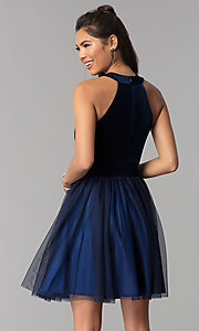 Image of navy high-neck velvet-bodice short homecoming dress. Style: MCR-1965 Back Image