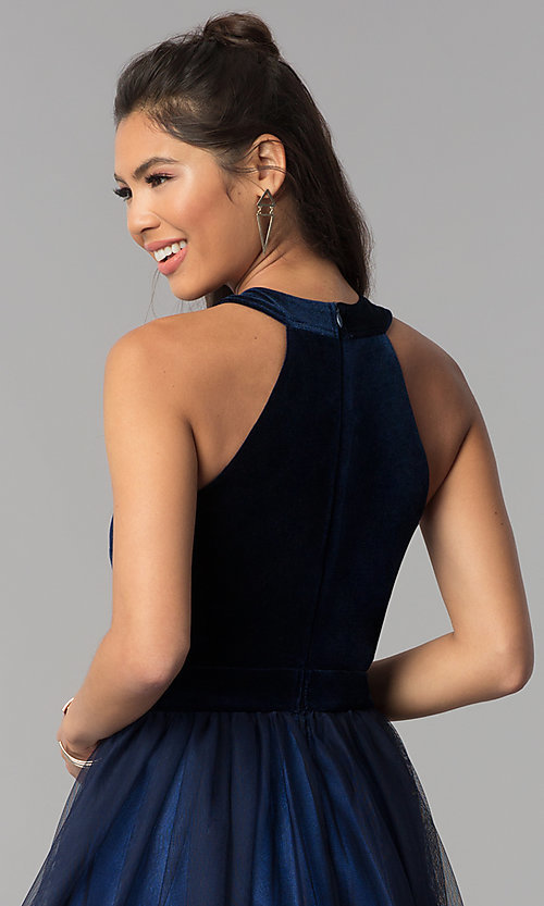 Image of navy high-neck velvet-bodice short homecoming dress. Style: MCR-1965 Detail Image 2