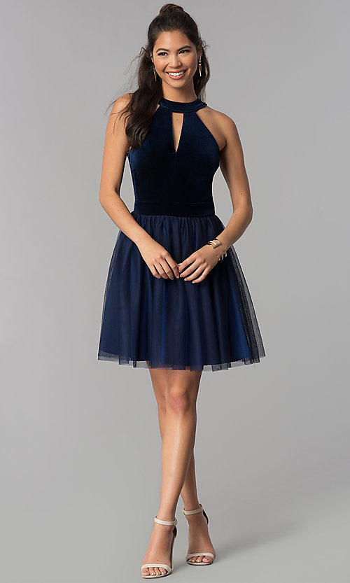 Image of navy high-neck velvet-bodice short homecoming dress. Style: MCR-1965 Detail Image 3