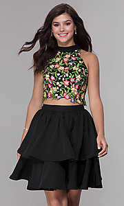 Image of two-piece embroidered-applique-top hoco party dress. Style: NA-6342 Front Image