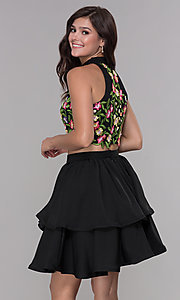 Image of two-piece embroidered-applique-top hoco party dress. Style: NA-6342 Back Image