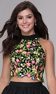 Image of two-piece embroidered-applique-top hoco party dress. Style: NA-6342 Detail Image 1