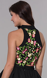 Image of two-piece embroidered-applique-top hoco party dress. Style: NA-6342 Detail Image 2