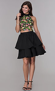 Image of two-piece embroidered-applique-top hoco party dress. Style: NA-6342 Detail Image 3