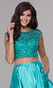 Image of satin two-piece homecoming dress with pockets. Style: NA-Q603 Detail Image 1
