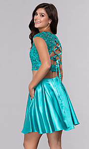 Image of satin two-piece homecoming dress with pockets. Style: NA-Q603 Back Image