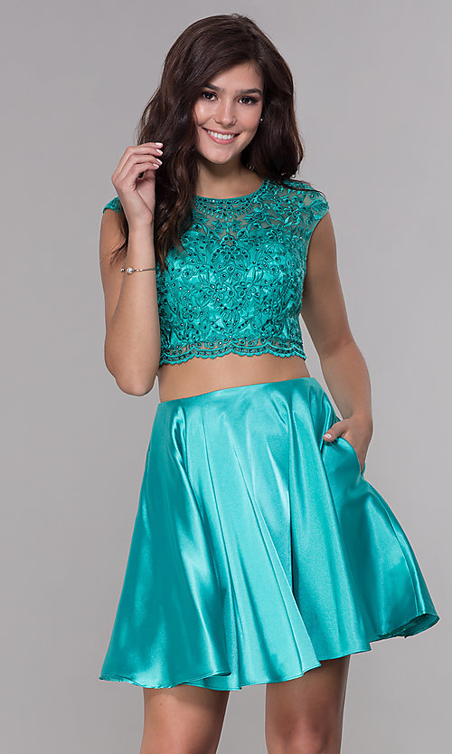 Image of satin two-piece homecoming dress with pockets. Style: NA-Q603 Front Image