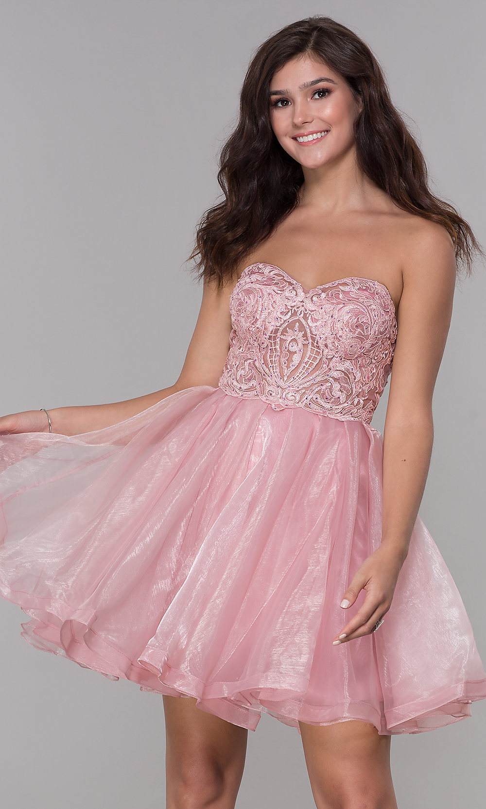 exceptional range of styles and colors designer fashion exquisite craftsmanship Pink Short Strapless Sweetheart Homecoming Dress