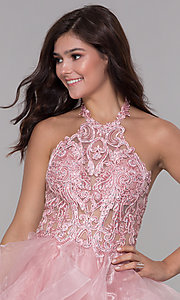 Image of embroidered-bodice short halter homecoming dress. Style: NA-A610 Detail Image 1