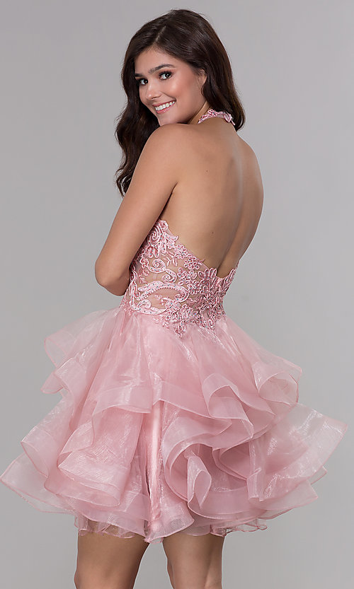 Image of embroidered-bodice short halter homecoming dress. Style: NA-A610 Back Image