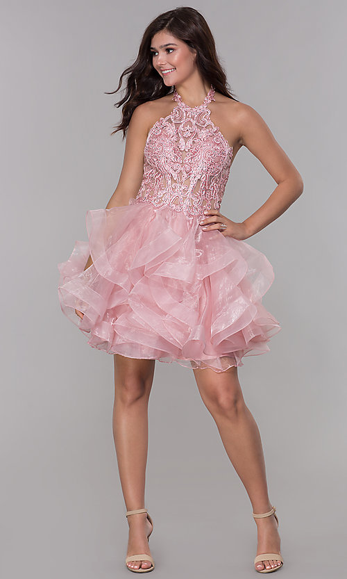 Image of embroidered-bodice short halter homecoming dress. Style: NA-A610 Detail Image 2