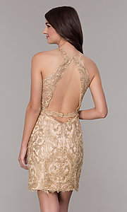 Image of lace short homecoming dress with rhinestones. Style: NA-A612 Back Image
