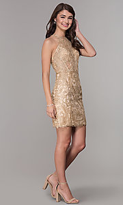Image of lace short homecoming dress with rhinestones. Style: NA-A612 Detail Image 3