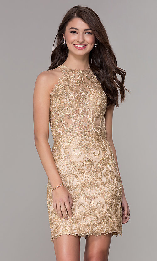 Image of lace short homecoming dress with rhinestones. Style: NA-A612 Front Image