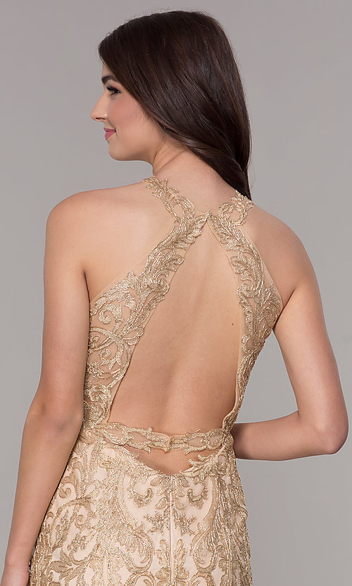 Image of lace short homecoming dress with rhinestones. Style: NA-A612 Detail Image 2