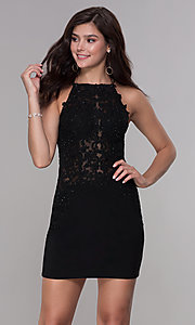 Image of bodycon short embroidered-bodice homecoming dress. Style: NA-A628 Front Image