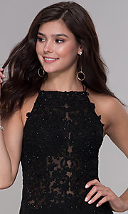 Image of bodycon short embroidered-bodice homecoming dress. Style: NA-A628 Detail Image 1