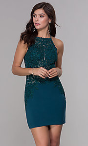 Image of bodycon short embroidered-bodice homecoming dress. Style: NA-A628 Detail Image 3