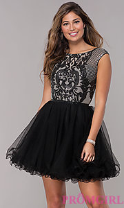 Image of short sequined-bodice a-line homecoming dress. Style: NA-Y645 Detail Image 3