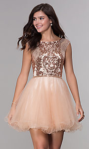 Image of short sequined-bodice a-line homecoming dress. Style: NA-Y645 Front Image