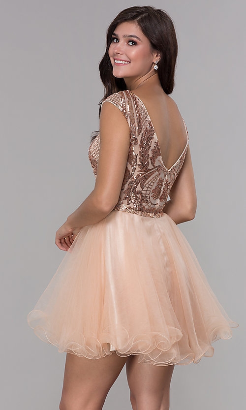 Image of short sequined-bodice a-line homecoming dress. Style: NA-Y645 Back Image