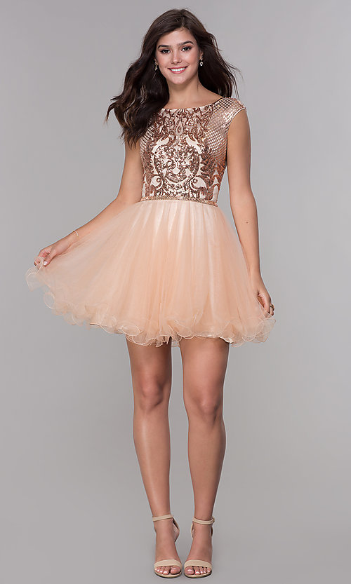 Image of short sequined-bodice a-line homecoming dress. Style: NA-Y645 Detail Image 2