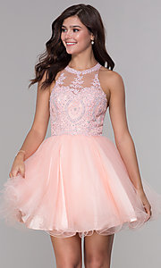 Image of short tulle embroidered-bodice homecoming dress. Style: NA-B652 Detail Image 5