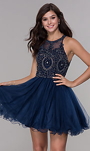 Image of short tulle embroidered-bodice homecoming dress. Style: NA-B652 Front Image