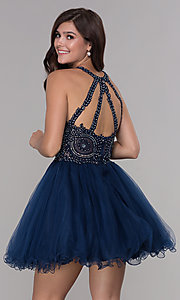 Image of short tulle embroidered-bodice homecoming dress. Style: NA-B652 Back Image