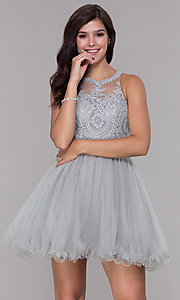Image of short tulle embroidered-bodice homecoming dress. Style: NA-B652 Detail Image 1