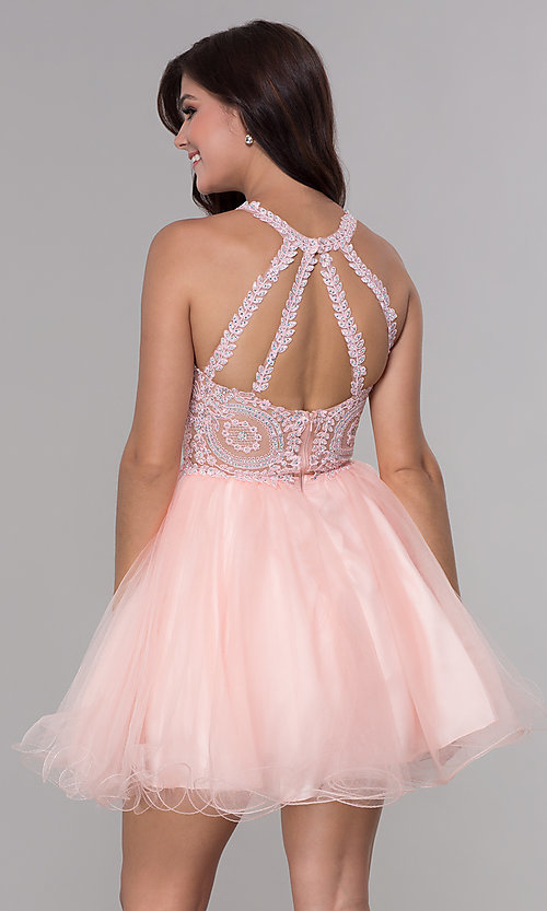 Image of short tulle embroidered-bodice homecoming dress. Style: NA-B652 Detail Image 6