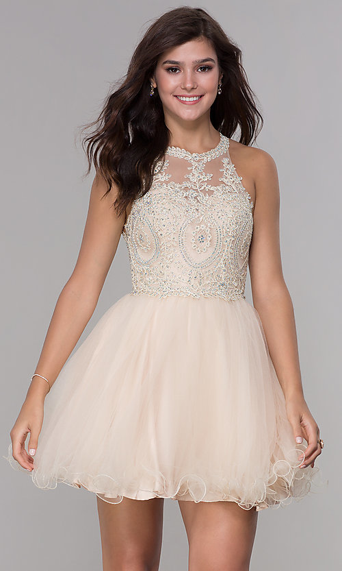 Image of short tulle embroidered-bodice homecoming dress. Style: NA-B652 Detail Image 3
