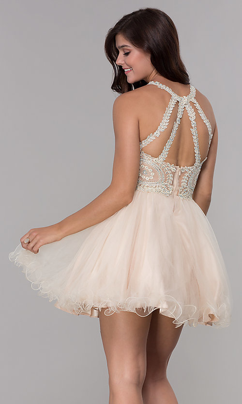 Image of short tulle embroidered-bodice homecoming dress. Style: NA-B652 Detail Image 4