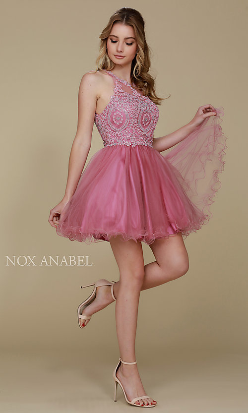 Image of short tulle embroidered-bodice homecoming dress. Style: NA-B652 Detail Image 7