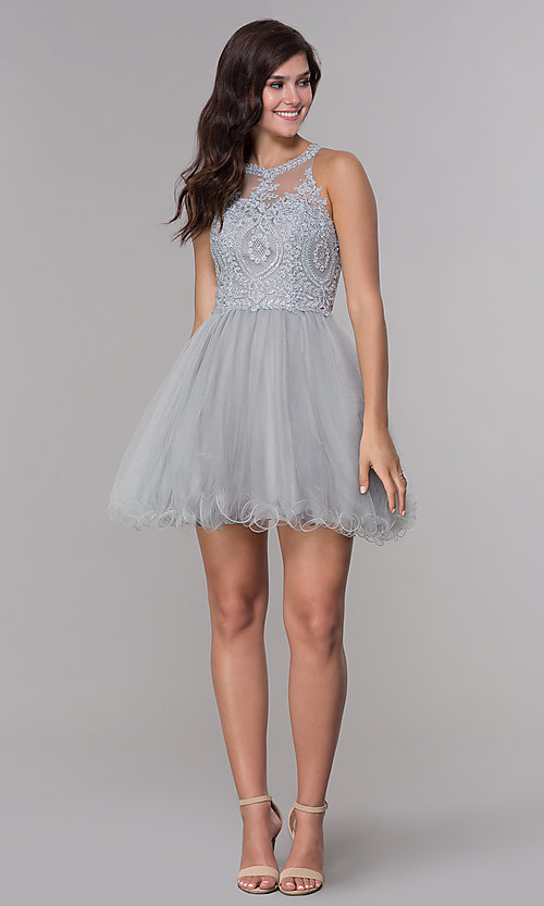 Image of short tulle embroidered-bodice homecoming dress. Style: NA-B652 Detail Image 2