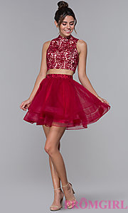 Image of high-neck two-piece tulle hoco dress by PromGirl. Style: DQ-PL-3042 Detail Image 2