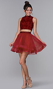 Image of high-neck two-piece tulle hoco dress by PromGirl. Style: DQ-PL-3042 Detail Image 3