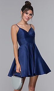 Image of cross-pleated-bodice homecoming dress by PromGirl. Style: DQ-PL-3059 Front Image