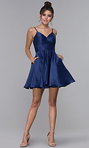 Image of cross-pleated-bodice homecoming dress by PromGirl. Style: DQ-PL-3059 Detail Image 2