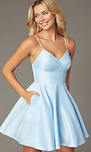 Image of cross-pleated-bodice homecoming dress by PromGirl. Style: DQ-PL-3059 Detail Image 4