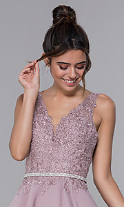 Image of a-line chiffon short homecoming dress by PromGirl. Style: DQ-PL-3011 Detail Image 1