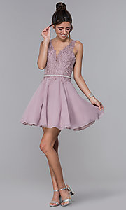 Image of a-line chiffon short homecoming dress by PromGirl. Style: DQ-PL-3011 Detail Image 3