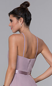 Image of chiffon high-neck short homecoming dress by PromGirl. Style: DQ-PL-3013 Detail Image 2