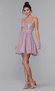 Image of short mocha lace-bodice homecoming dress by PromGirl. Style: DQ-PL-3044 Detail Image 3