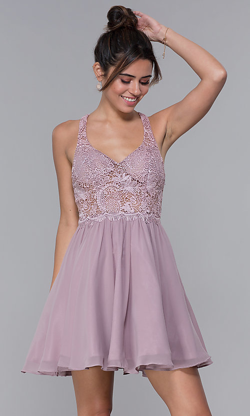 Image of short mocha lace-bodice homecoming dress by PromGirl. Style: DQ-PL-3044 Front Image