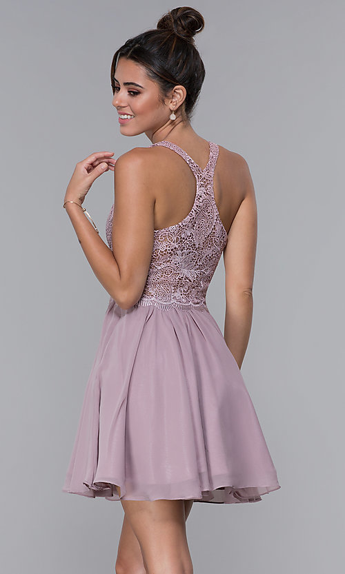 Image of short mocha lace-bodice homecoming dress by PromGirl. Style: DQ-PL-3044 Back Image