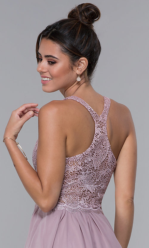 Image of short mocha lace-bodice homecoming dress by PromGirl. Style: DQ-PL-3044 Detail Image 2