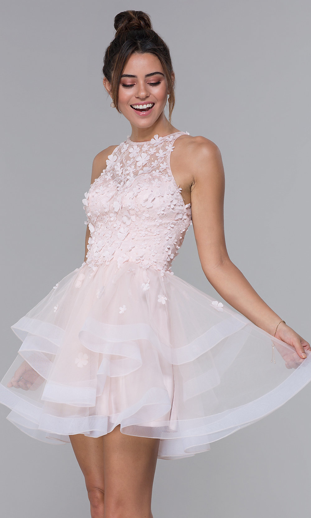315108a120b1 Lace-Bodice Tulle Short Homecoming Dress - PromGirl