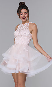 Image of short tulle homecoming dress with 3-D lace bodice. Style: DQ-3003 Front Image