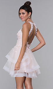 Image of short tulle homecoming dress with 3-D lace bodice. Style: DQ-3003 Back Image